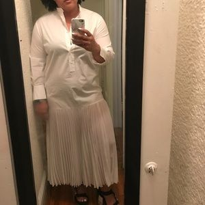 NWOT Long white shirt dress with pleats at bottom